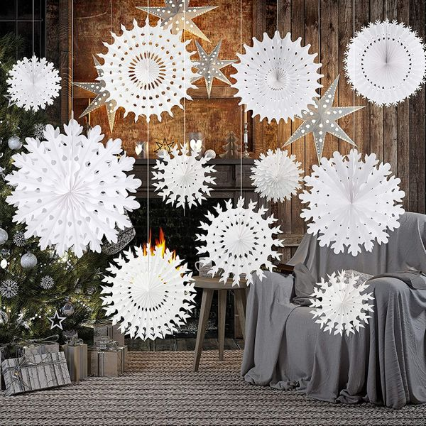Décorations flocon de neige en papier blanc TUPARKA, lot de 12