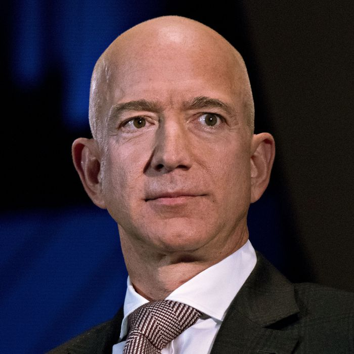 Jeff Bezos, founder and chief executive officer of Amazon.com Inc., listens during an Economic Club of Washington discussion in Washington, D.C., U.S., on Thursday, Sept. 13, 2018.