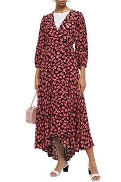 Ganni Lindale Printed Crepe de Chine Maxi Wrap Dress