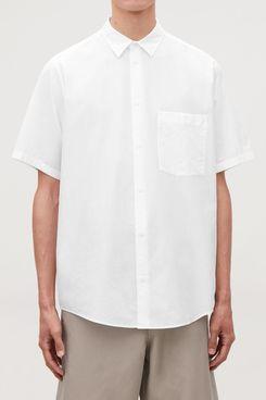 Casual Short-Sleeved Poplin Shirt