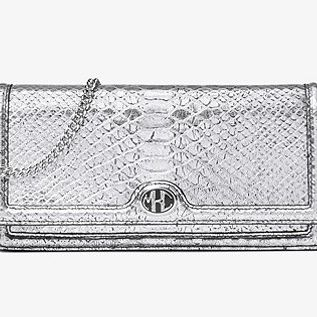 Michael Kors Collection Monogramme Metallic Python-Embossed Leather Clutch