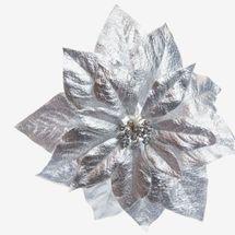 At Home Silver Metallic Poinsettia Clip