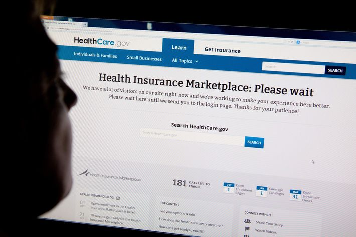 A woman looks at the HealthCare.gov insurance exchange internet site October 1, 2013 in Washington, DC. A woman looks at the HealthCare.gov insurance exchange internet site October 1, 2013 in Washington, DC. US President Barack Obama's Affordable Care Act, or Obamacare as it is commonly called, passed in March 2010, went into effect Tuesday at 8am EST. Heavy Internet traffic and system problems plagued the launch of the new health insurance exchanges Tuesday morning. Consumers attempting to log on were met with an error message early Tuesday due to an overload of Internet traffic.  Barack Obama's Affordable Care Act, or Obamacare as it is commonly called, passed in March 2010, went into effect Tuesday at 8am EST. Heavy Internet traffic and system problems plagued the launch of the new health insurance exchanges Tuesday morning. Consumers attempting to log on were met with an error message early Tuesday due to an overload of Internet traffic. AFP PHOTO / Karen BLEIER        (Photo credit should read KAREN BLEIER/AFP/Getty Images)