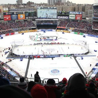 NEW YORK, NY - JANUARY 26: (EDITORIAL USE ONLY) A general view of action from the upper seats in the first period during the 2014 Coors Light NHL Stadium Series at Yankee Stadium on January 26, 2014 in the Bronx borough of New York City. (Photo by Len Redkoles/NHLI via Getty Images)