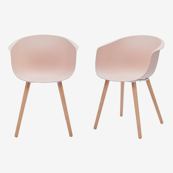 Rivet Alva Modern Curved-Back Plastic Dining Chair, Set of Two