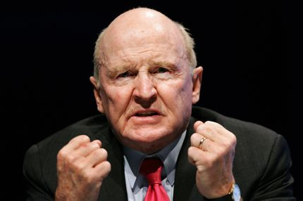"Former General Electric chairman Jack Welch gestures as he speaks on 04 November 2005 during the ""World Business Forum"" in Frankfurt/M. The World Business Forum is a symposium featuring eminent leaders and thinkers speaking on topics of the utmost importance to the business community."
