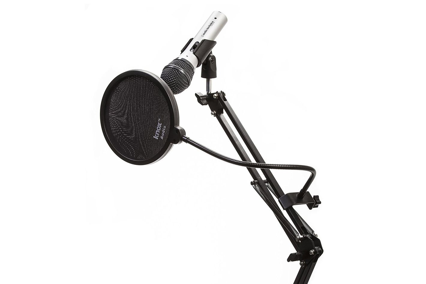 Audio Technica Microphone With Knox Desktop Boom Arm Mic Stand & Pop Filter