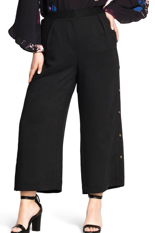 City Chic Sweet Button Wide-Leg Pants