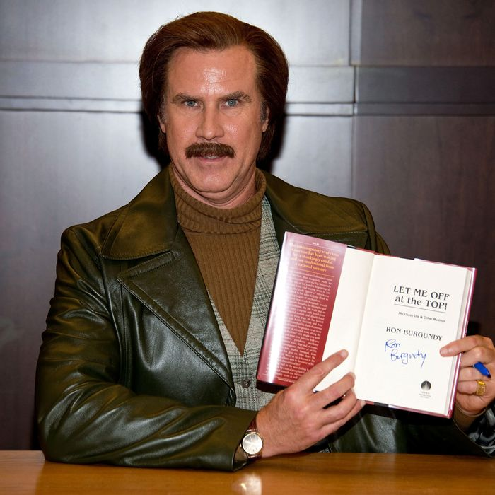 Anchorman Ron Burgundy signs copies of his new book