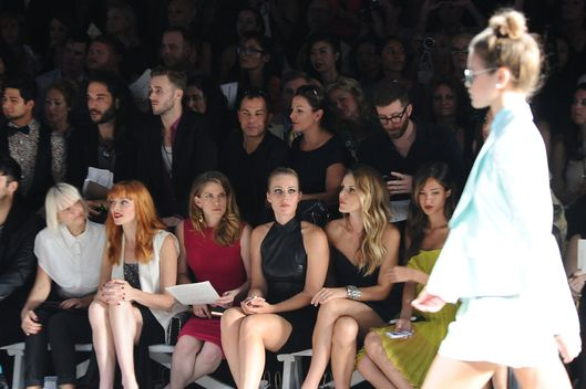 (L-R) Sia, Nicole Laliberte, Anna Chlumsky, Natasha Bedingfield, Monet Mazur and Kelsey Chow attend the Christian Siriano show during Spring 2013 Mercedes-Benz Fashion Week at Eyebeam Studio on September 8, 2012 in New York City.