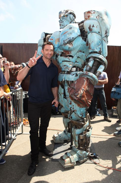 "SAN DIEGO, CA - JULY 21:  Hugh Jackman makes a special appearance to promote DreamWorks SKG's ""Real Steel"" at the 2011 Comic-Con on July 21, 2011 in San Diego, California.  (Photo by Eric Charbonneau/WireImage)"