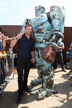 """SAN DIEGO, CA - JULY 21:  Hugh Jackman makes a special appearance to promote DreamWorks SKG's """"Real Steel"""" at the 2011 Comic-Con on July 21, 2011 in San Diego, California.  (Photo by Eric Charbonneau/WireImage)"""