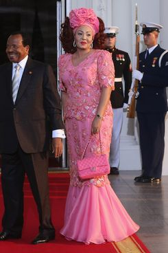 WASHINGTON, DC - AUGUST 05: Cameroon President Paul Biya and spouse Chantal Biya arrive at the North Portico of the White House for a State Dinner on the occasion of the U.S. Africa Leaders Summit, August 5, 2014 in Washington, DC. African leaders are attending a three-day-long summit in Washington to strengthen ties between the United States and African nations.  (Photo by Mark Wilson/Getty Images)