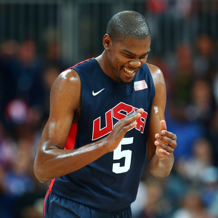Kevin Durant #5 of United States reacts after a play against Argentina during the Men's Basketball Preliminary Round match on Day 10 of the London 2012 Olympic Games at the Basketball Arena on August 6, 2012 in London, England.