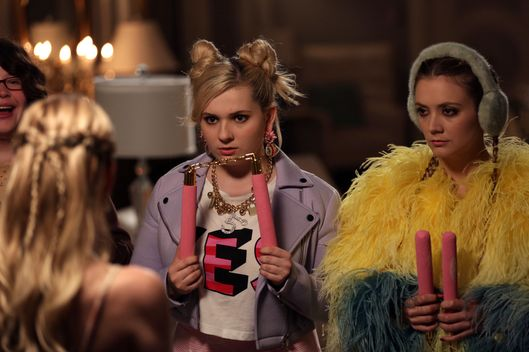 "SCREAM QUEENS: L-R: Guest star Breezy Eslin, Emma Roberts, Abigail Breslin and Billie Lourd in the ""Seven Minutes In Hell"" episode of SCREAM QUEENS airing Tuesday, Oct. 20 (9:00-10:00 PM ET/PT) on FOX. ©2015 Fox Broadcasting Co. Cr: Patti Perret/FOX."