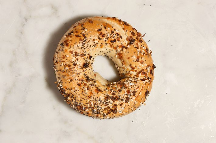 Bagels come in all the traditional flavors, including everything.