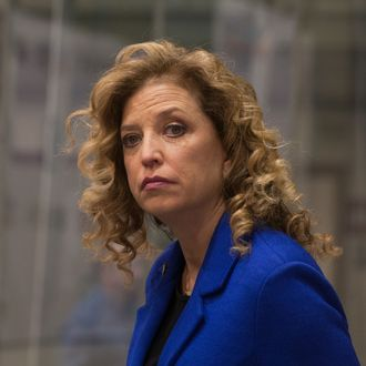 Congresswoman and DNC Chair Debbie Wasserman-Schultz at the third Democratic presidential debate.