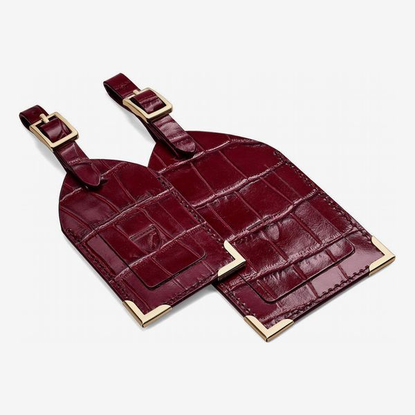 Set of 2 Luggage Tags in Deep Shine Bordeaux Croc from Aspinal of London