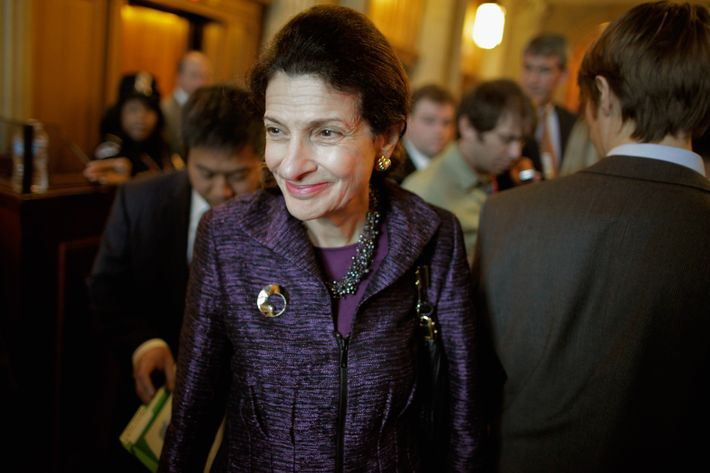 U.S. Sen. Olympia Snowe (R-ME) heads into weekly Senate Republican policy luncheon at the U.S. Captiol November 29, 2011