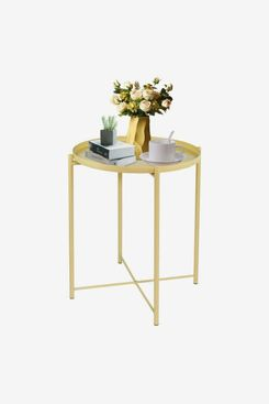 LeChamp Modern Metal End Table With Removable Tray