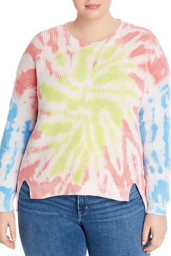 AQUA Curve Ribbed Tie-Dye Top