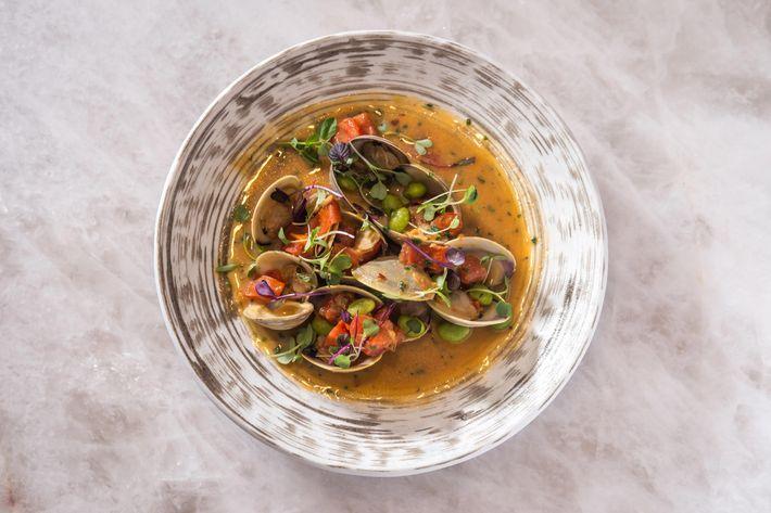 Miso clam with shiitake, garlic, sake, and miso sauce.