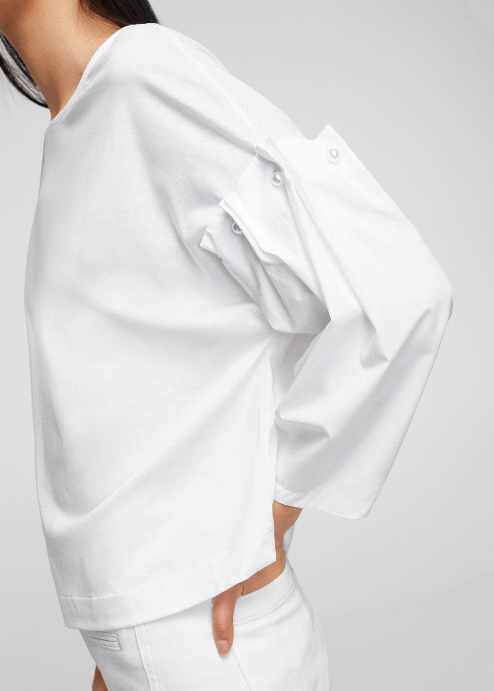 Mango Poplin Sleeves T-shirt