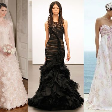 A blush gown by Romona Keveza, a black gown by Vera Wang, and a printed gown from David's Bridal.