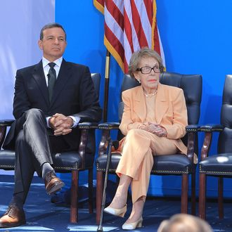 SIMI VALLEY, CA - JULY 05: Chairman and CEO of The Walt Disney Company Robert A. Iger (L) and Nancy Reagan at The Grand Opening Of D23's Treasures Of The Walt Disney Archives At The Ronald Reagan Presidential Library & Museum held at The Ronald Reagan Presidential Library on July 5, 2012 in Simi Valley, California. (Photo by Alexandra Wyman/Getty Images)