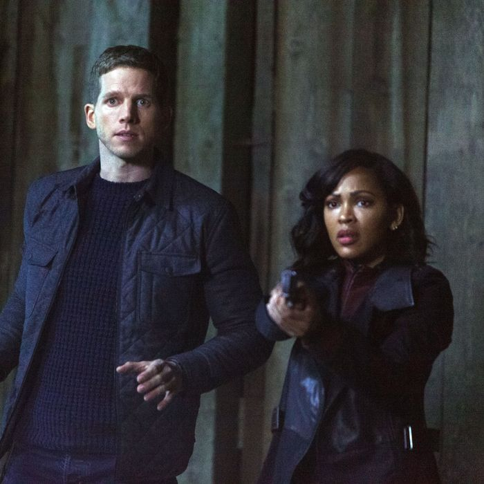 "MINORITY REPORT: L-R: Stark Sands and Meagan Good in the all-new ""Fiddler's Neck"" episode of MINORITY REPORT airing Monday, Oct. 26 (9:00-10:00 PM ET/PT) on FOX. © 2015 FOX Broadcasting Co. Cr: Michael Caulfield / FOX."