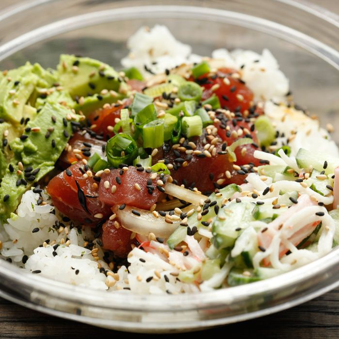 An ahi poke preparation from Wisefish in Chelsea.