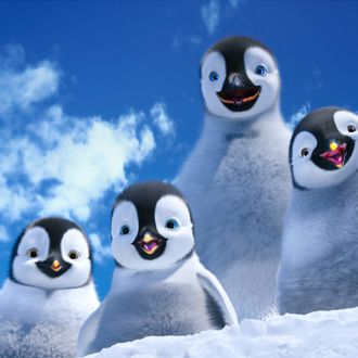 """(L-r) Bo, voiced by MEIBH CAMPBELL; Erik, voiced by AVA ACRES; Mumble, voiced by ELIJAH WOOD; and Atticus, voiced by BENJAMIN """"LIL P-NUT"""" FLORES JR., in Warner Bros. Pictures' and Village Roadshow Pictures' animated family comedy adventure """"HAPPY FEET TWO,"""" a Warner Bros. Pictures release."""