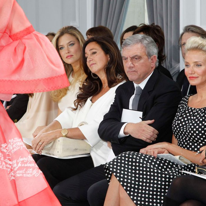 Johannes Huebl, Olivia Palermo, Bar Refaeli, Katya Toledano, Sidney Toledano and Cameron Diaz attend the Dior Haute-Couture 2012 show as part of Paris Fashion Week at Salons Christian Dior on January 23, 2012 in Paris, France.
