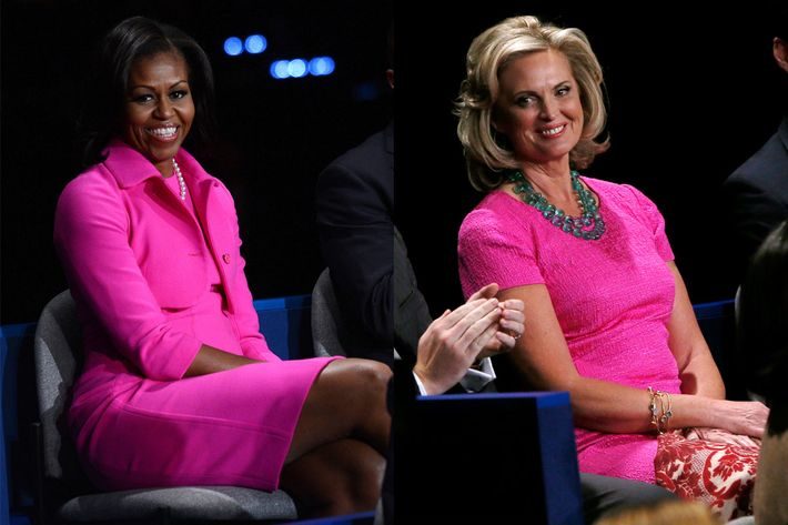 Michelle Obama and Ann Romney, wearing pink on Tuesday.