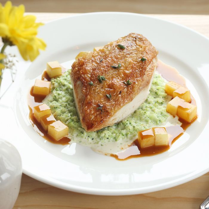 Duxelles-stuffed chicken, creamed broccoli, broccoli stem jus.