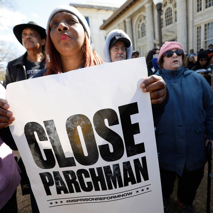 Protesters calling for the closure of the Mississippi State Penitentiary, also known as Parchman Farm.