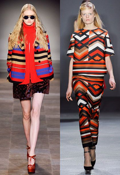 """Blanket stripes emerged throughout the month, from rag & bone to Carven, often in separates and coats. This season, outerwear is just as important as innerwear.""  <b>Must-have</b>: Carven blanket-stripe jacket (left)."