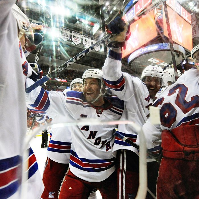WASHINGTON, DC - MAY 03: The New York Rangers celebrate after Marian Gaborik #10 scored the game winning goal in the third overtime period against the Washington Capitals in Game Three of the Eastern Conference Semifinals during the 2012 NHL Stanley Cup Playoffs at the Verizon Center on May 3, 2012 in Washington, DC. (Photo by Patrick McDermott/Getty Images)