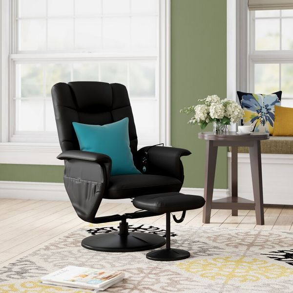 Reclining Heated Massage Chair with Ottoman