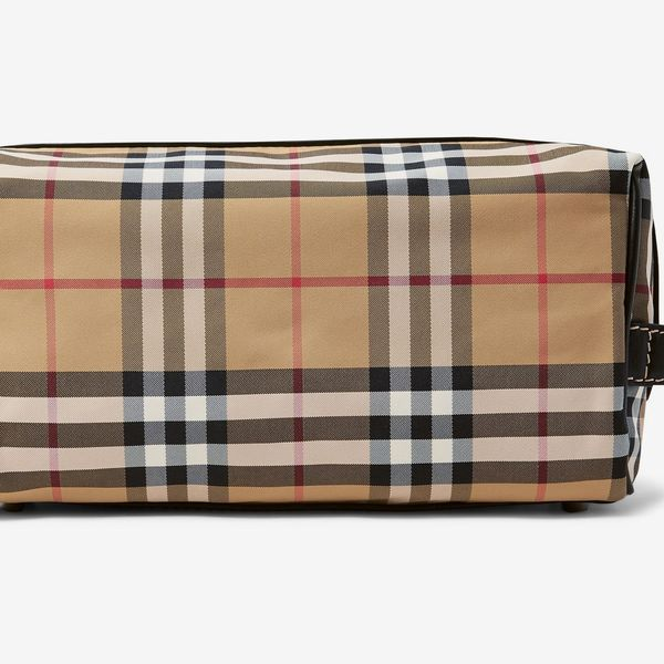 Burberry Leather-Trimmed Checked Nylon Wash Bag