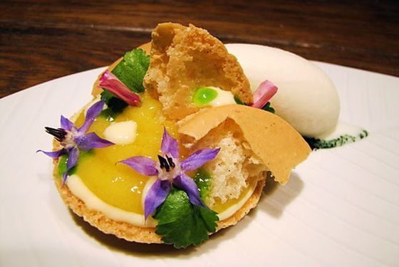 "<b>Kaffir Lime Custard</b>  <a href=""http://losangeles.menupages.com/restaurants/mezze/"">Mezze</a>  <i>401 N. La Cienega Blvd. West Hollywood; 310-657-4103</i>  Pastry chef Morgan Bordenave celebrates winter citrus in this light dessert, playing on both the sweet and tart strengths of limes by combining dried, fragrant, black lime curd and sour Indian lime curd, all spilling out of a black sesame macaron topped with black lime streusel, micro cilantro, and flower petals, served aside a scoop of yogurt sorbet."
