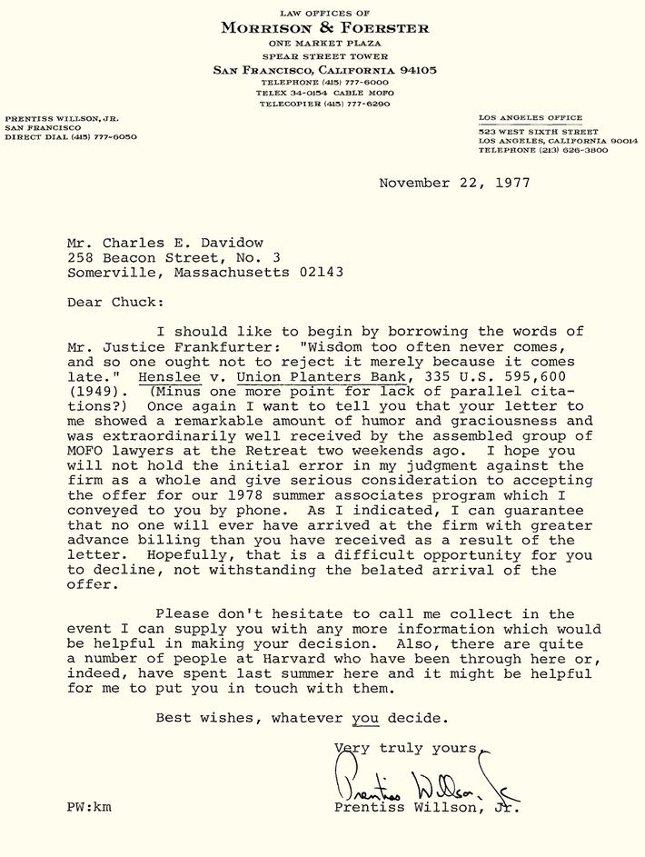 Read a rejection letter reply so brilliant it got him hired the job was his but davidow politely declined having decided to take a summer job in dc still two weeks later prentiss tried again altavistaventures Gallery