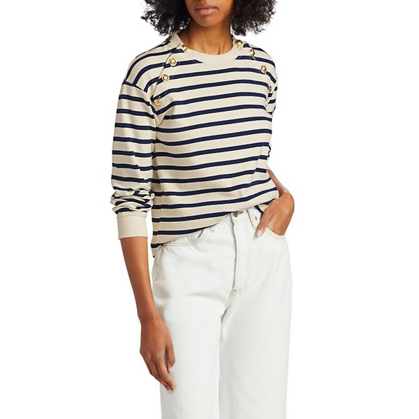 Derek Lam 10 Crosby Lucie Button-Trimmed Stripe Cotton Sweater
