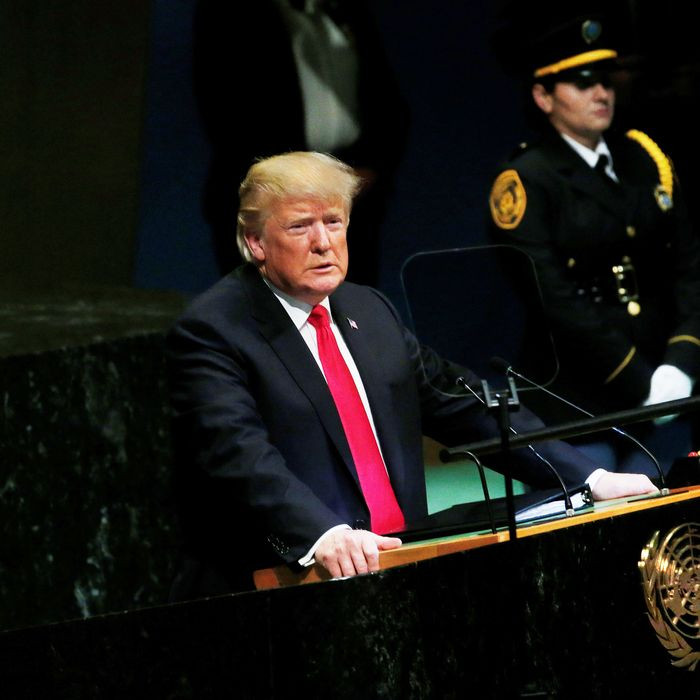 U.S. President Donald Trump addresses the 73rd Session of the United Nations General Assembly in New York on September 25, 2018.