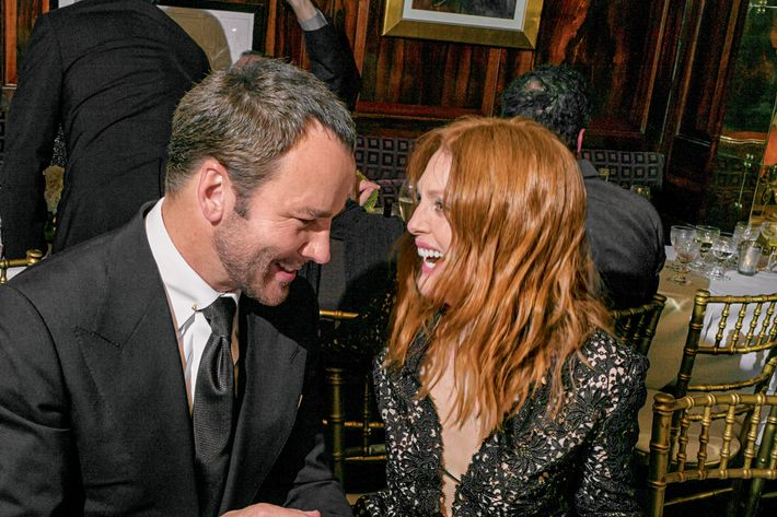 Tom Ford and Julianne Moore at Charles Finch's pre-BAFTA party.
