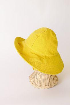 Chapeau de soleil jaune en velours côtelé bleu à large bord pour les bébés de plage et les tout-petits