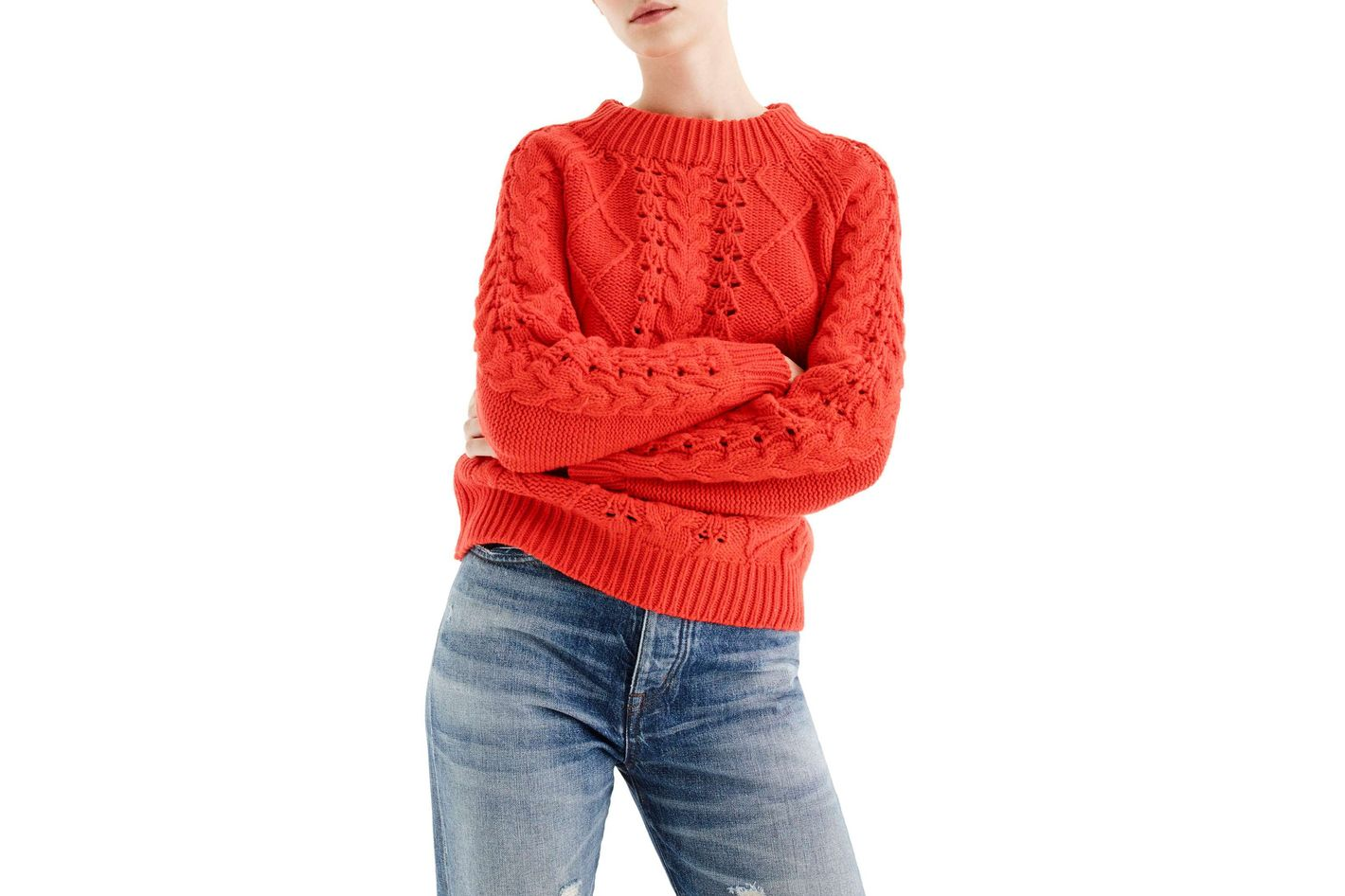J.Crew Cable Knit Mock Neck Sweater