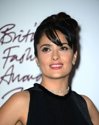 Salma Hayek poses in the awards room at the British Fashion Awards 2012 at The Savoy Hotel on November 27, 2012 in London, England.