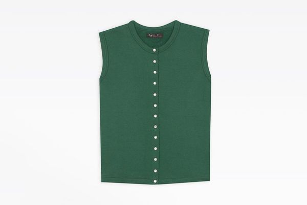Agnès B. Green Sleeveless Snap Cardigan