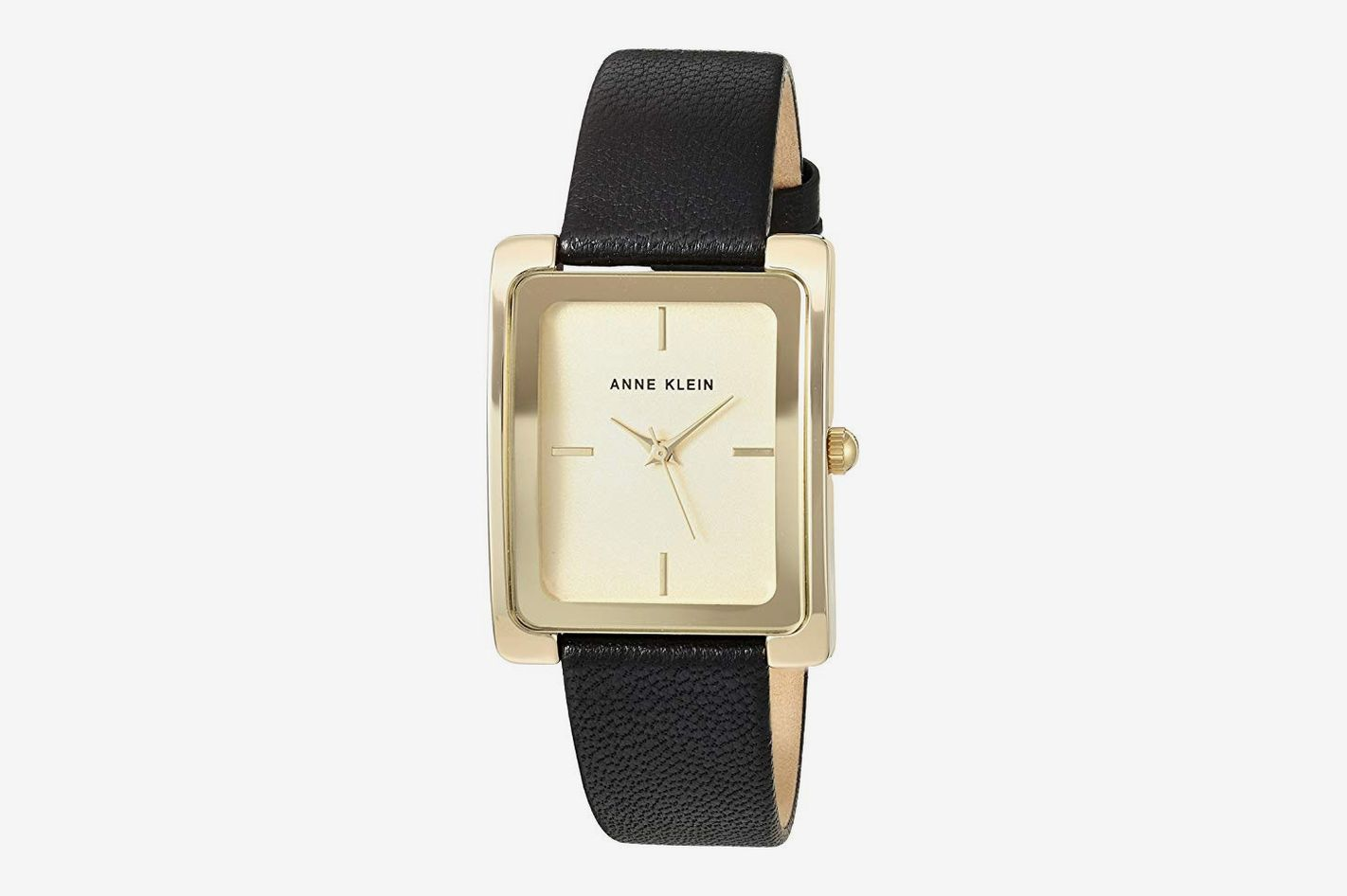 Anne Klein Women's Gold-Tone and Black Leather Strap Watch